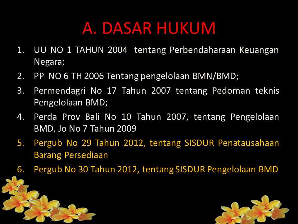 A. DASAR HUKUM 1.UU NO 1 TAHUN 2004 tentang Perbendaharaan Keuangan Negara; 2.PP NO 6 TH 2006 Tentang pengelolaan BMN/BMD; 3.Permendagri No 17 Tahun 2