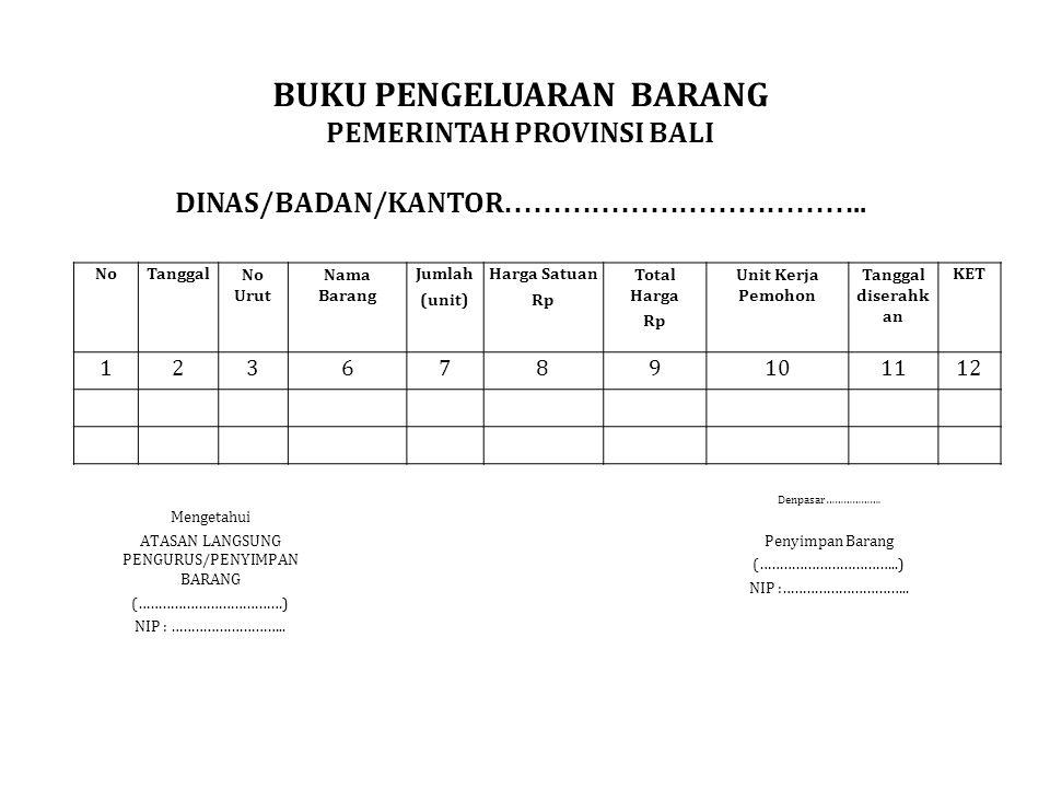 NoTanggalNo Urut Nama Barang Jumlah (unit) Harga Satuan Rp Total Harga Rp Unit Kerja Pemohon Tanggal diserahk an KET 1236789101112 Denpasar………………. Men