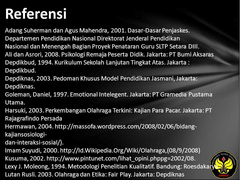 Referensi Adang Suherman dan Agus Mahendra, 2001. Dasar-Dasar Penjaskes.