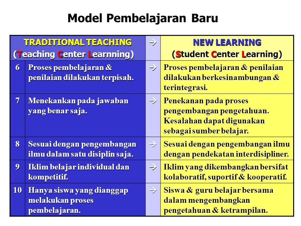 TRADITIONAL TEACHING (Teaching Center Learnning)  NEW LEARNING (Student Center Learning) 6 Proses pembelajaran & penilaian dilakukan terpisah.