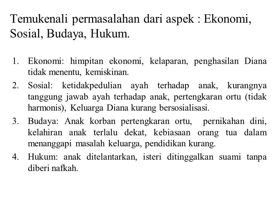 Temukenali permasalahan dari aspek : Ekonomi, Sosial, Budaya, Hukum.
