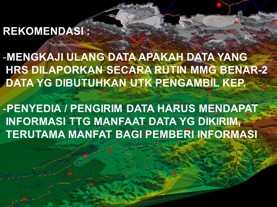 REKOMENDASI : -MENGKAJI ULANG DATA APAKAH DATA YANG HRS DILAPORKAN SECARA RUTIN MMG BENAR-2 DATA YG DIBUTUHKAN UTK PENGAMBIL KEP. -PENYEDIA / PENGIRIM