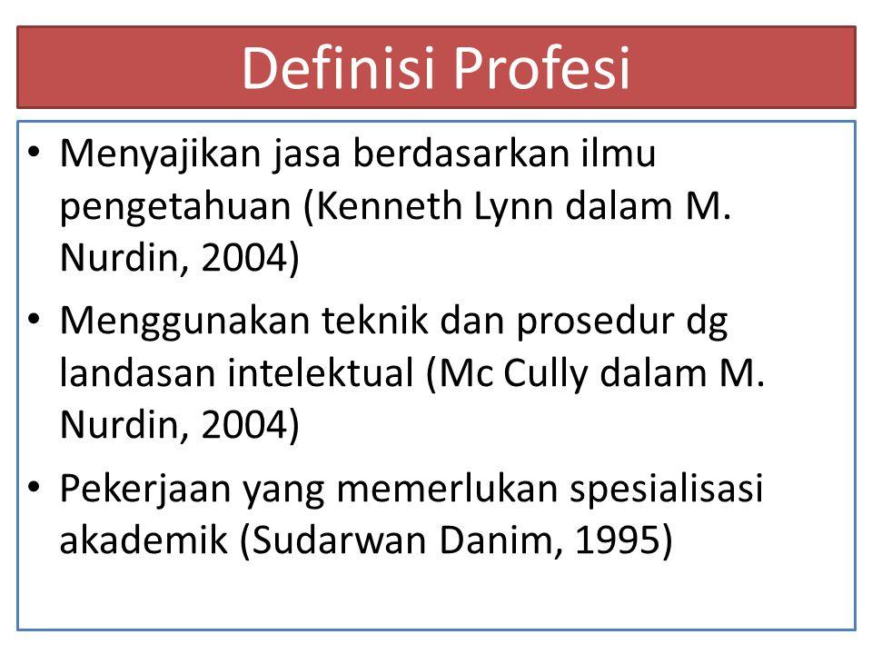 Definisi Profesi (lanjut...) Profesi adalah suatu kegiatan yang memadukan kecakapan teknik serta spesifikasi ilmu yang dimiliki dengan panggilan jiwanya.