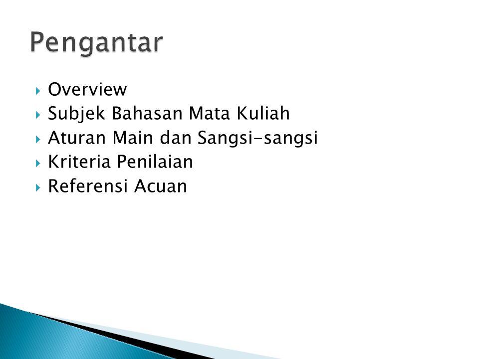  Overview  Subjek Bahasan Mata Kuliah  Aturan Main dan Sangsi-sangsi  Kriteria Penilaian  Referensi Acuan