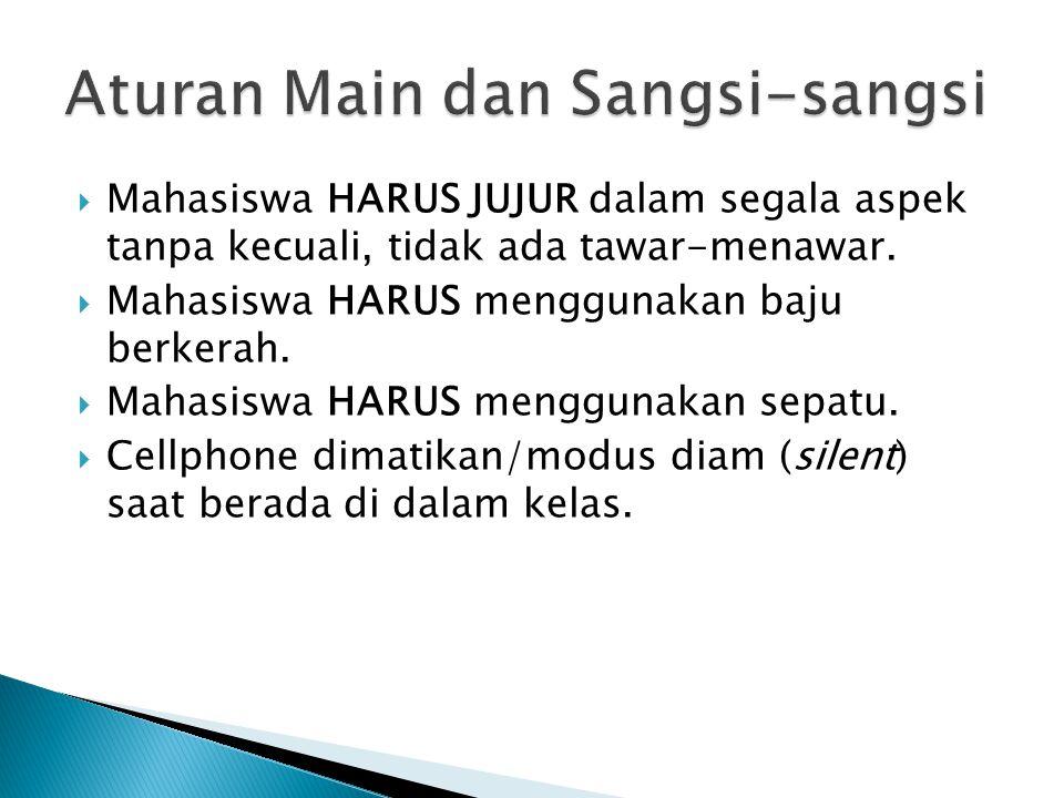  Mahasiswa HARUS JUJUR dalam segala aspek tanpa kecuali, tidak ada tawar-menawar.