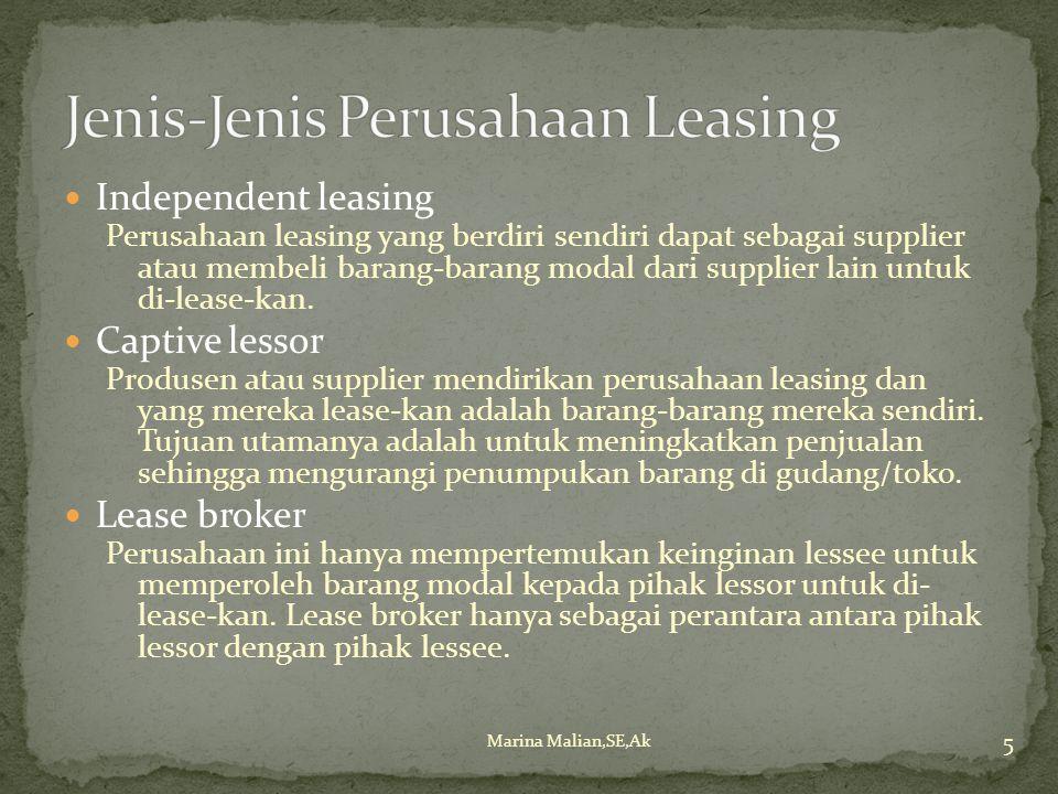 Independent leasing Perusahaan leasing yang berdiri sendiri dapat sebagai supplier atau membeli barang-barang modal dari supplier lain untuk di-lease-kan.