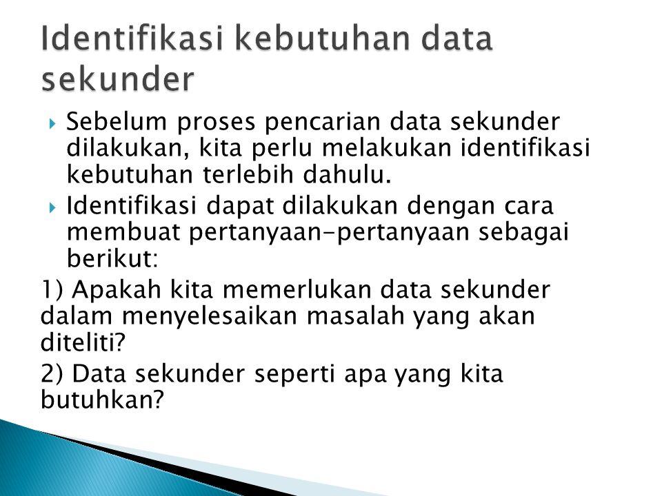  Sebelum proses pencarian data sekunder dilakukan, kita perlu melakukan identifikasi kebutuhan terlebih dahulu.  Identifikasi dapat dilakukan dengan