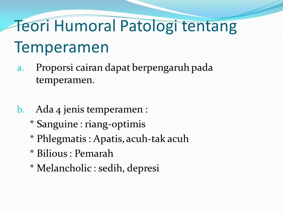 Teori Humoral Patologi tentang Temperamen a.Proporsi cairan dapat berpengaruh pada temperamen.