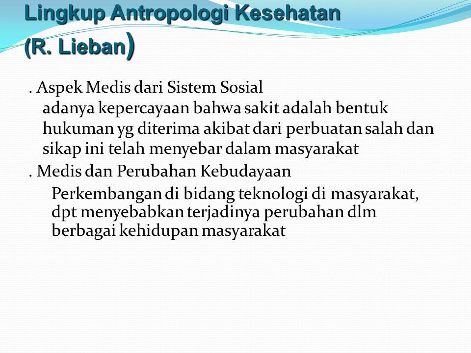 Lingkup Antropologi Kesehatan (R.Lieban ).