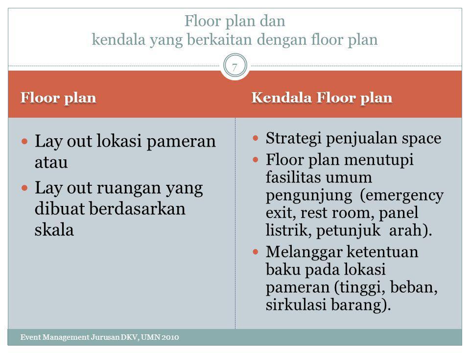 Lay out Istilah Marking Event Management Jurusan DKV, UMN 2010 Site plan (lay out makro) Floor plan (Lay out mikro) Aisley/gangway : tempat lalu lalang pengunjung Circulation flow: sirkulasi pengunjung, standnya 40 % dari luas area.