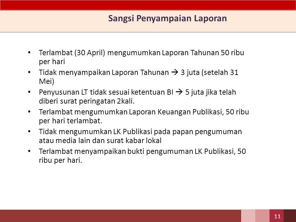 Penyampaian Laporan Laporan Tahunan dan bukti pengumuman Laporan Keuangan Publikasi disampaikan kepada Bank Indonesia Laporan Keuangan Publikasi secar