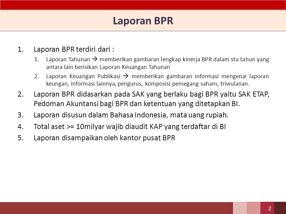 PELAPORAN BPR SE 15/29/DKBU tanggal 31 Juli 2013 Laporan Tahunan dan Laporan Keuangan Publikasi BPR 1