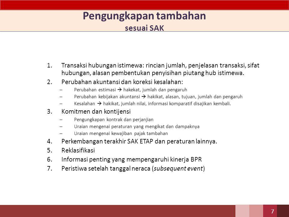Pengungkapan informasi lain 1.Iktisar kebijakan akuntansi – pernyataan bahwa BPR menggunakan SAK ETAP; – dasar pengukuran dan penyusunan laporan keuan