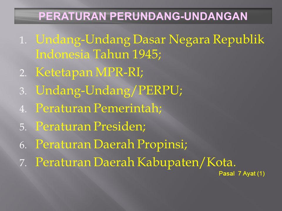 Undang Undang Dasar 1945 9 Pasal 1 (1)Negara Indonesia ialah Negara Kesatuan, yang berbentuk Republik.