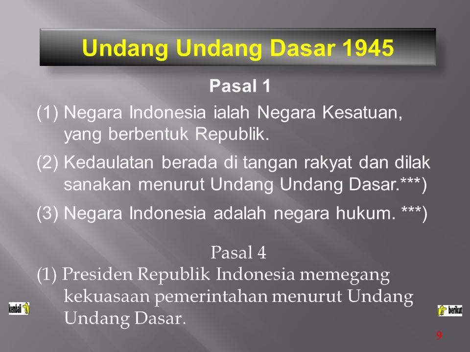 Pasal 17 (1) Presiden dibantu oleh menteri menteri negara.