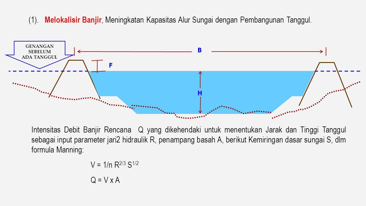 1. Melokalisir Banjir dan Meningkatan Kapasitas Alur Sungai dengan Pembangunan Tanggul ( levee ) di Daerah Sub Urban Tembok Banjir ( parapet wall ) di