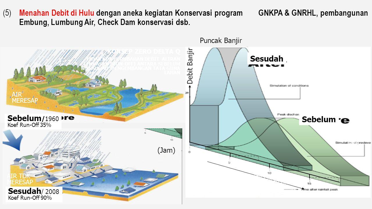 (3). Pengalihan Debit Puncak Banjir, p enyediaan kawasan retensi banjir ( retarding basin ) pada sisi luar tanggul sungai retarding basin side spillwa