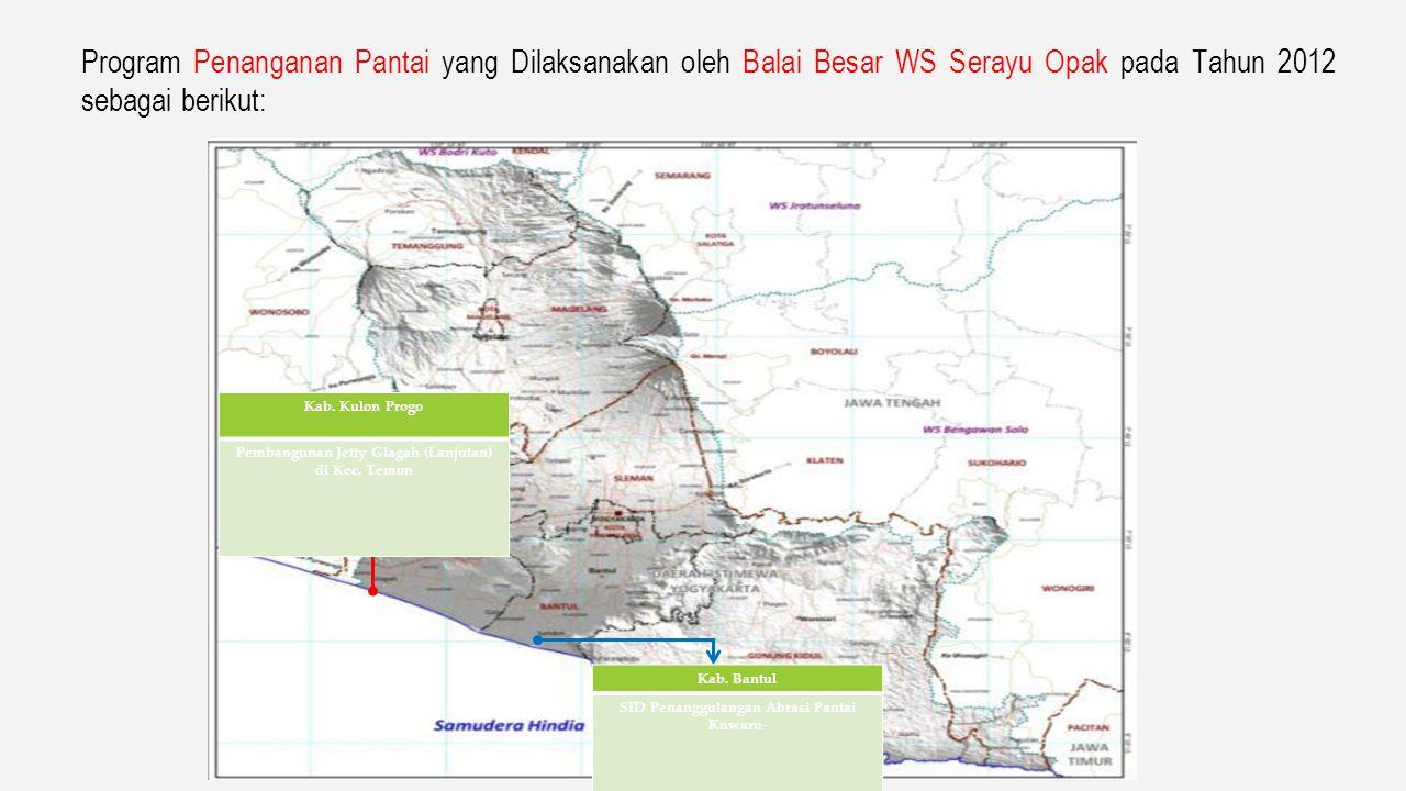 Program Penanggulangan Banjir yang Dilaksanakan oleh Balai Besar WS Serayu Opak pada Tahun 2012 sebagai berikut: Kab. Bantul, Kota Yogyakarta, Kab. Sl