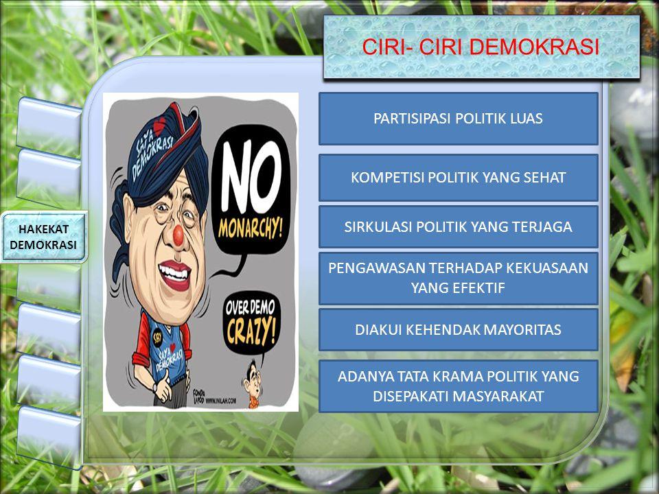 CIRI- CIRI DEMOKRASI HAKEKAT DEMOKRASI PARTISIPASI POLITIK LUAS KOMPETISI POLITIK YANG SEHAT SIRKULASI POLITIK YANG TERJAGA PENGAWASAN TERHADAP KEKUAS