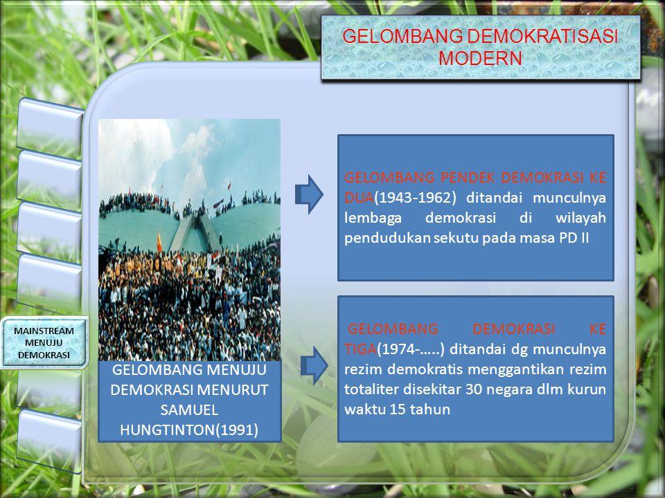 GELOMBANG DEMOKRATISASI MODERN MAINSTREAM MENUJU DEMOKRASI GELOMBANG PENDEK DEMOKRASI KE DUA(1943-1962) ditandai munculnya lembaga demokrasi di wilayah pendudukan sekutu pada masa PD II GELOMBANG DEMOKRASI KE TIGA(1974-…..) ditandai dg munculnya rezim demokratis menggantikan rezim totaliter disekitar 30 negara dlm kurun waktu 15 tahun GELOMBANG MENUJU DEMOKRASI MENURUT SAMUEL HUNGTINTON(1991)