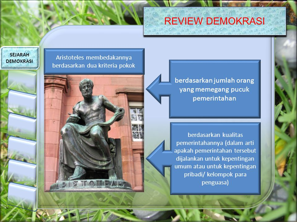 REVIEW DEMOKRASI SEJARAH DEMOKRASI Aristoteles membedakannya berdasarkan dua kriteria pokok berdasarkan jumlah orang yang memegang pucuk pemerintahan berdasarkan kualitas pemerintahannya (dalam arti apakah pemerintahan tersebut dijalankan untuk kepentingan umum atau untuk kepentingan pribadi/ kelompok para penguasa)