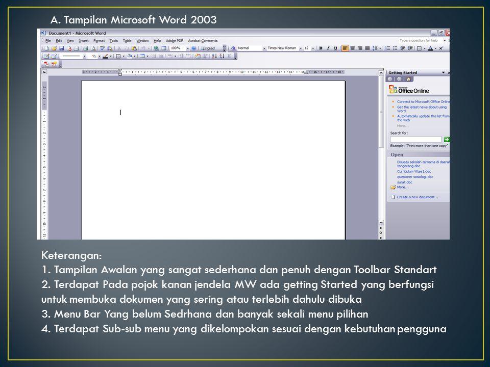 Keterangan: Pada MW 2007 tidak ada toolbar table atau sub menu table, tetapi menu table ada di pilihan insert.