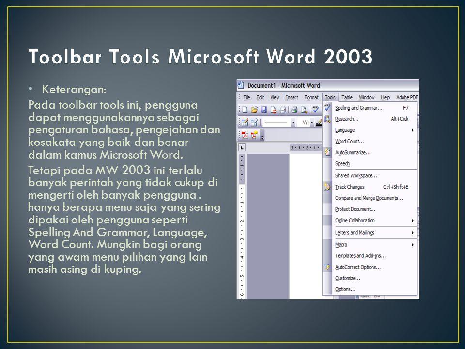 Keterangan: Pada toolbar tools ini, pengguna dapat menggunakannya sebagai pengaturan bahasa, pengejahan dan kosakata yang baik dan benar dalam kamus M