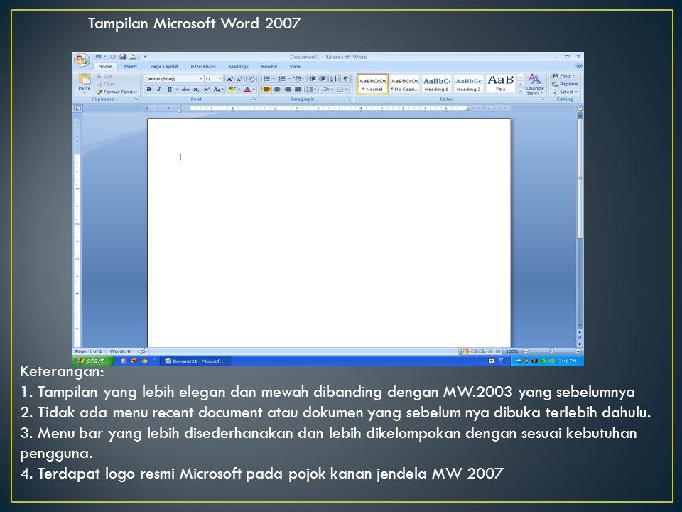 Tampilan Microsoft Word 2007 Keterangan: 1. Tampilan yang lebih elegan dan mewah dibanding dengan MW.2003 yang sebelumnya 2. Tidak ada menu recent doc