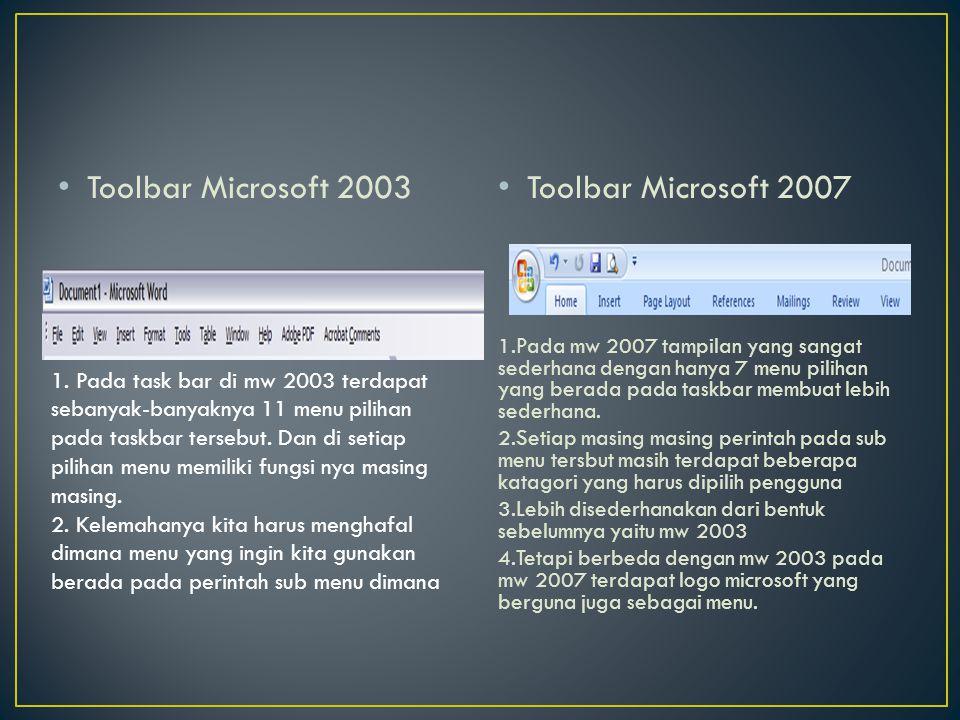 Toolbar Microsoft 2003 Toolbar Microsoft 2007 1.Pada mw 2007 tampilan yang sangat sederhana dengan hanya 7 menu pilihan yang berada pada taskbar membu