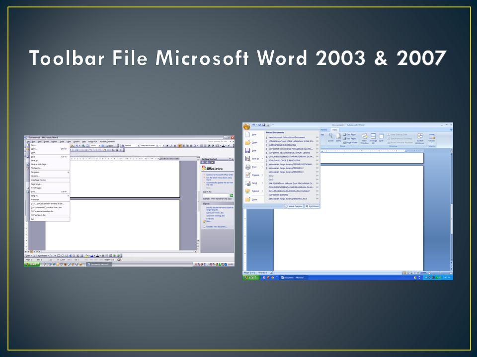 Keterangan: Berbeda dengan toolbar format pada MW 2003, Toolbar format pada MW 2007 lebih sederhana dan lebih tidak memperumit pengguna untuk mengubah bentuk tulisan, warna tulisan, mengtur paragraf dan lainnya.