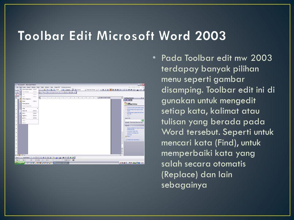 Pada Toolbar edit mw 2003 terdapay banyak pilihan menu seperti gambar disamping. Toolbar edit ini di gunakan untuk mengedit setiap kata, kalimat atau