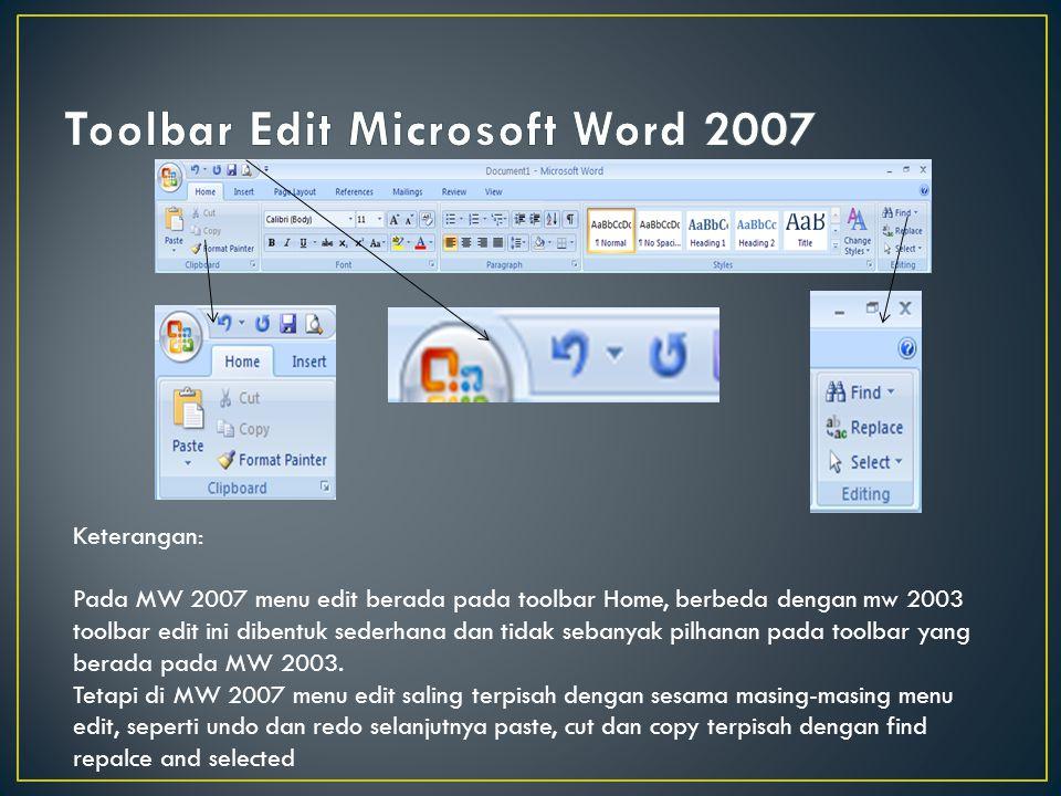 Keterangan: Pada toolbar tools ini, pengguna dapat menggunakannya sebagai pengaturan bahasa, pengejahan dan kosakata yang baik dan benar dalam kamus Microsoft Word.