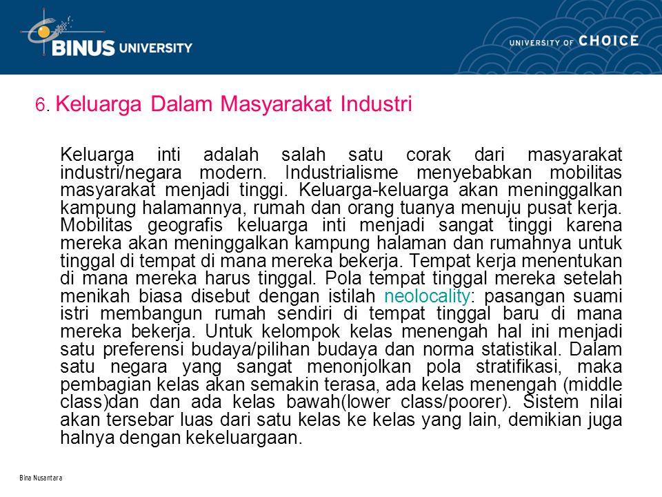Bina Nusantara 6. Keluarga Dalam Masyarakat Industri Keluarga inti adalah salah satu corak dari masyarakat industri/negara modern. Industrialisme meny