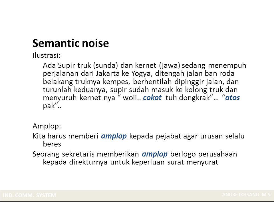 Semantic noise Ilustrasi: Ada Supir truk (sunda) dan kernet (jawa) sedang menempuh perjalanan dari Jakarta ke Yogya, ditengah jalan ban roda belakang