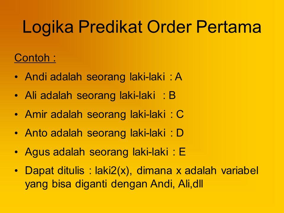 Logika Predikat Order Pertama Contoh : Andi adalah seorang laki-laki : A Ali adalah seorang laki-laki : B Amir adalah seorang laki-laki : C Anto adala