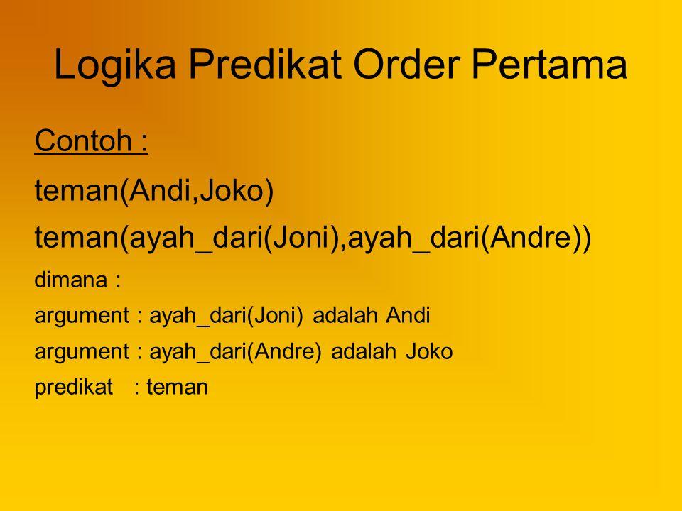 Logika Predikat Order Pertama Contoh : teman(Andi,Joko) teman(ayah_dari(Joni),ayah_dari(Andre)) dimana : argument : ayah_dari(Joni) adalah Andi argume