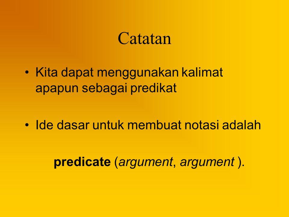 Catatan Kita dapat menggunakan kalimat apapun sebagai predikat Ide dasar untuk membuat notasi adalah predicate (argument, argument ).