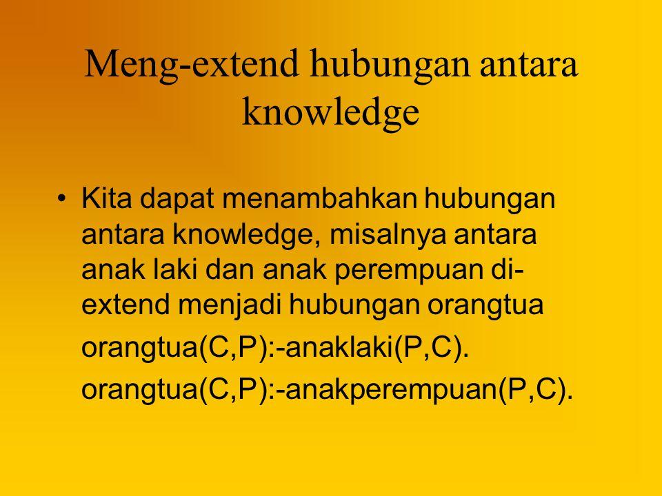 Meng-extend hubungan antara knowledge Kita dapat menambahkan hubungan antara knowledge, misalnya antara anak laki dan anak perempuan di- extend menjad