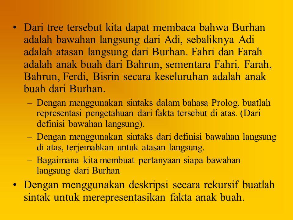 Dari tree tersebut kita dapat membaca bahwa Burhan adalah bawahan langsung dari Adi, sebaliknya Adi adalah atasan langsung dari Burhan. Fahri dan Fara