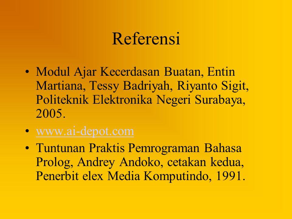 Referensi Modul Ajar Kecerdasan Buatan, Entin Martiana, Tessy Badriyah, Riyanto Sigit, Politeknik Elektronika Negeri Surabaya, 2005. www.ai-depot.com