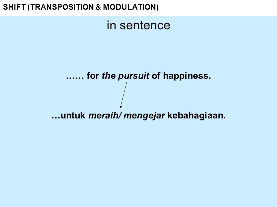 SHIFT (TRANSPOSITION & MODULATION) in sentence …… for the pursuit of happiness. …untuk meraih/ mengejar kebahagiaan.