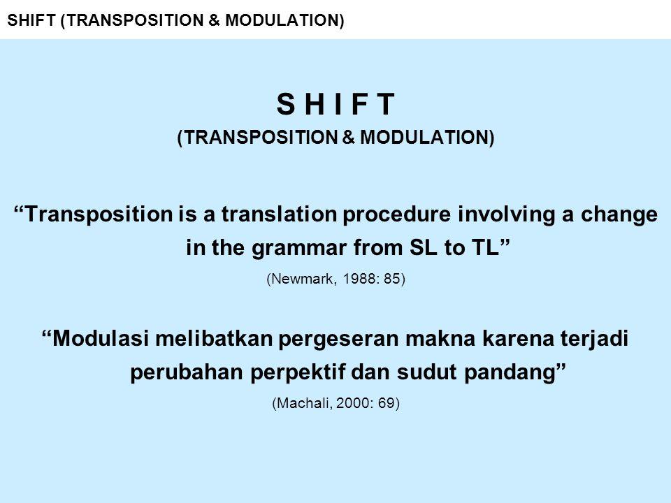 SHIFT (TRANSPOSITION & MODULATION) SHIFT 6 from word into phrase or clause (clause into word) cozy suasana nyaman, hangat, dan akrab incommunicado kondisi terputus komunikasi dengan dunia luar interchangeability kondisi bisa saling dipertukarkan
