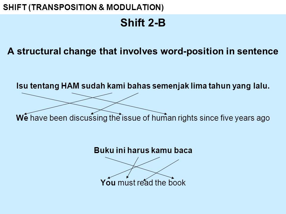 SHIFT (TRANSPOSITION & MODULATION) Shift 3 a change in part of speech noun + noun noun + noun adverb + verb verb + noun adj + noun verb + adj