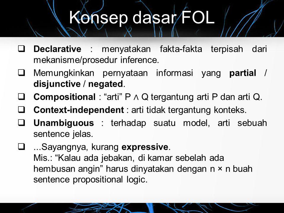 Konsep dasar FOL  Declarative : menyatakan fakta-fakta terpisah dari mekanisme/prosedur inference.  Memungkinkan pernyataan informasi yang partial /