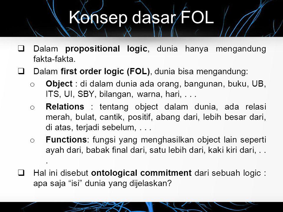 Konsep dasar FOL  Dalam propositional logic, dunia hanya mengandung fakta-fakta.  Dalam first order logic (FOL), dunia bisa mengandung: o Object : d