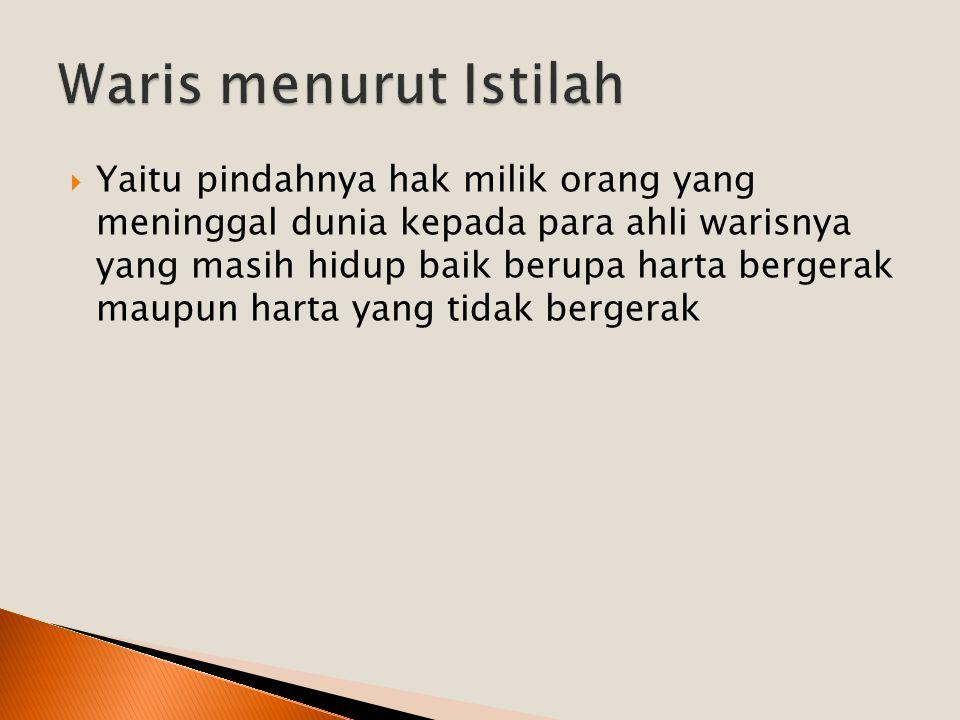 Faraidh dalam hal ini sama artinya dengan kata mafrudhah yaitu bagian yang telah ditentukan kadarnya.