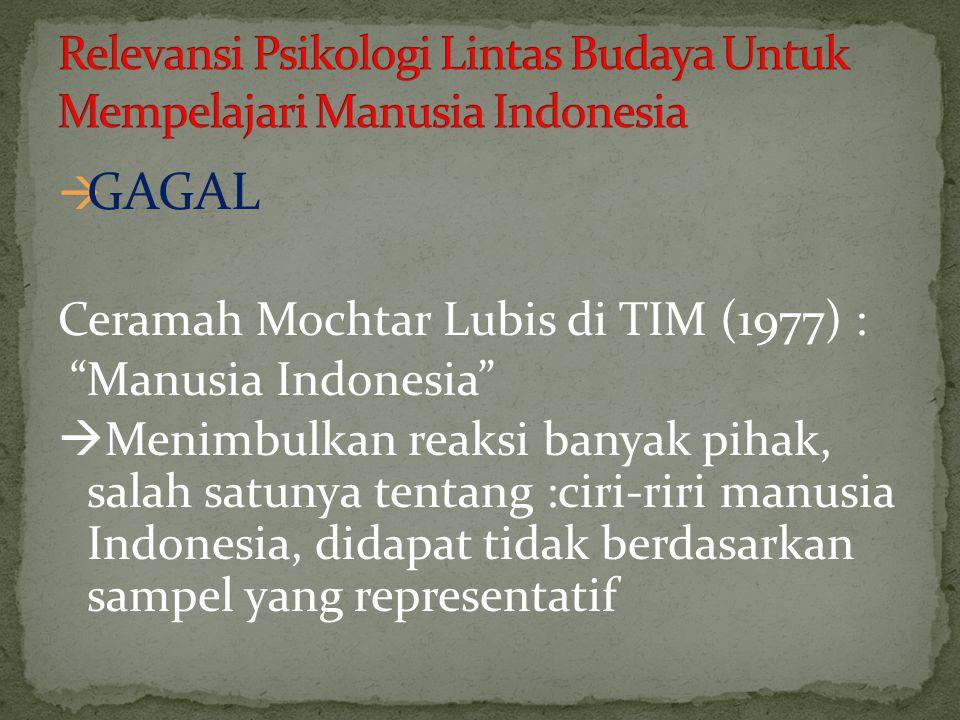 """ GAGAL Ceramah Mochtar Lubis di TIM (1977) : """"Manusia Indonesia""""  Menimbulkan reaksi banyak pihak, salah satunya tentang :ciri-riri manusia Indonesi"""