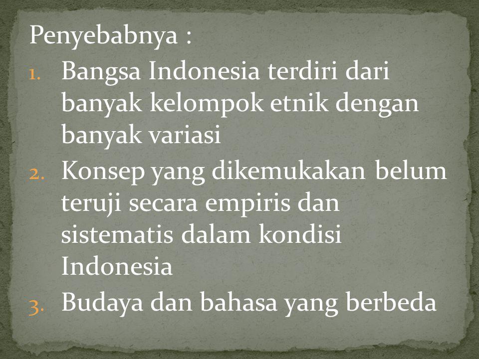 Penyebabnya : 1. Bangsa Indonesia terdiri dari banyak kelompok etnik dengan banyak variasi 2. Konsep yang dikemukakan belum teruji secara empiris dan