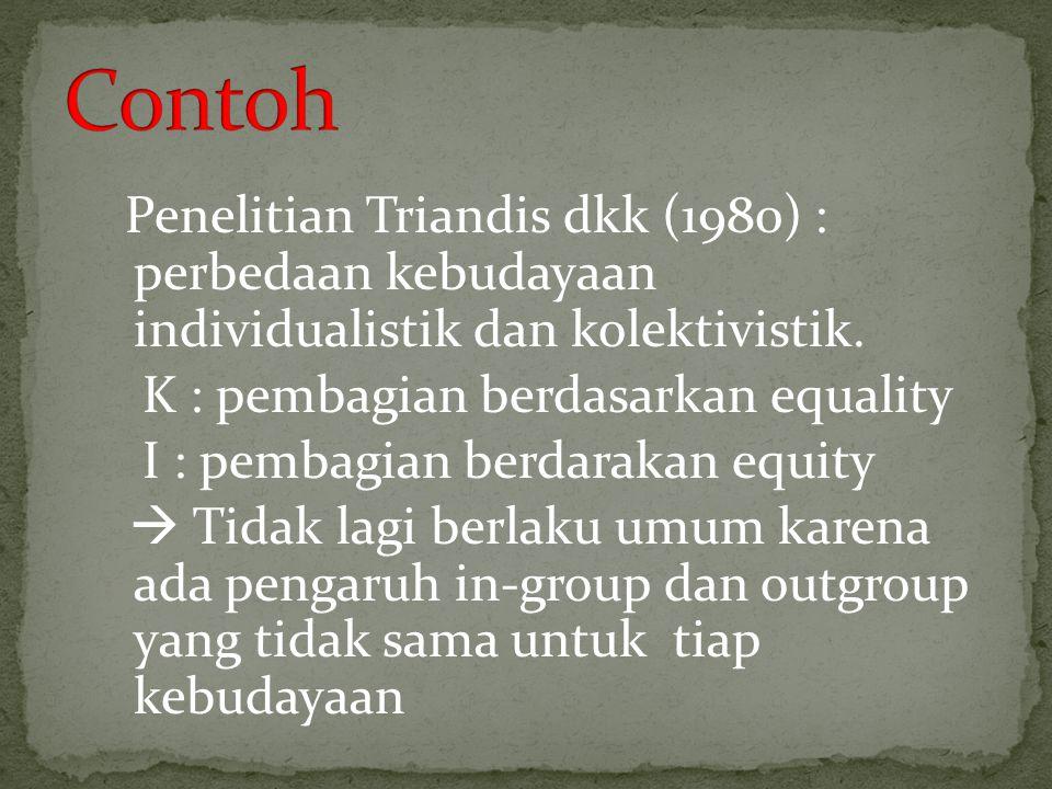 Penelitian Triandis dkk (1980) : perbedaan kebudayaan individualistik dan kolektivistik. K : pembagian berdasarkan equality I : pembagian berdarakan e