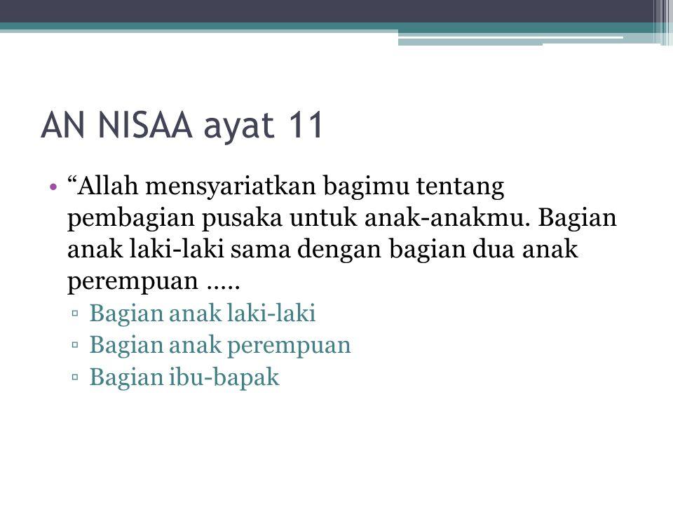 """AN NISAA ayat 11 """"Allah mensyariatkan bagimu tentang pembagian pusaka untuk anak-anakmu. Bagian anak laki-laki sama dengan bagian dua anak perempuan …"""